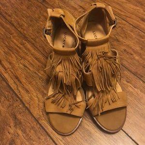 Lucky brand fringe heels!